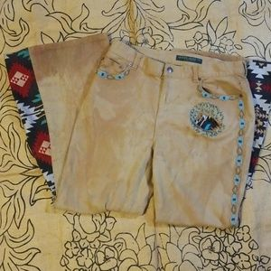 Distressed Bell bottom Jeans Aztec Western Flare